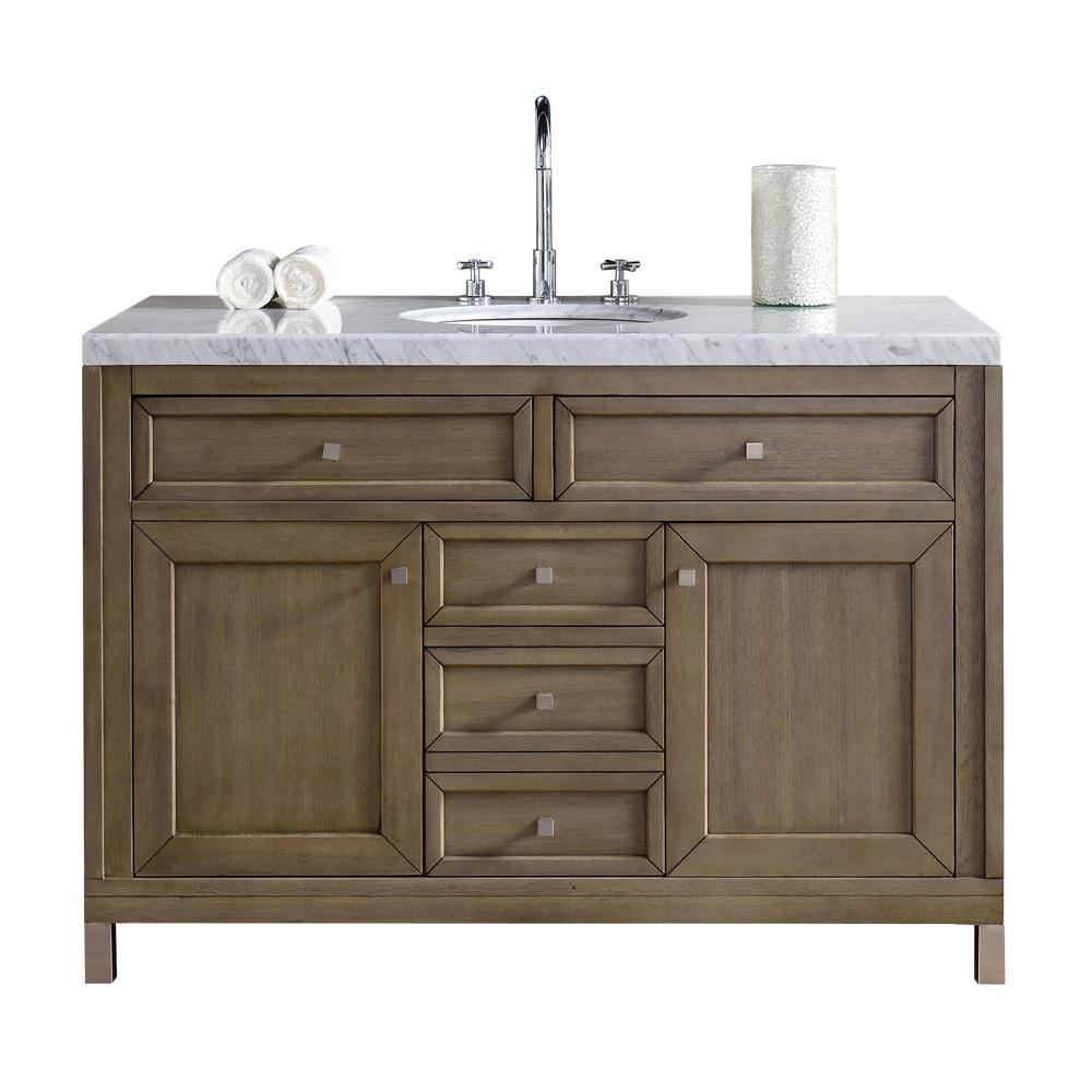 James Martin Signature Vanities Chicago 48 in. W Single Vanity in Whitewashed Walnut with Marble