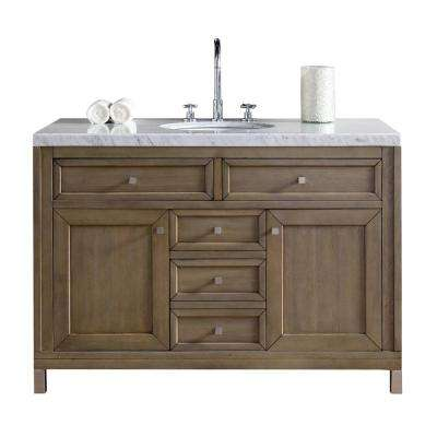Chicago 48 in. W Single Vanity in Whitewashed Walnut with Marble Vanity Top in Carrara White with White Basin
