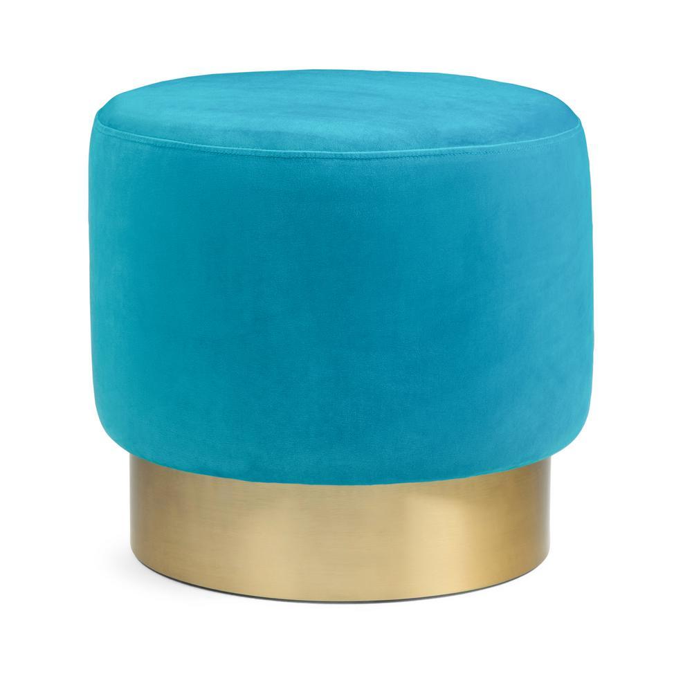 Simpli Home Bardoe 16 in. Contemporary Modern Round Footstool in Mediterranean