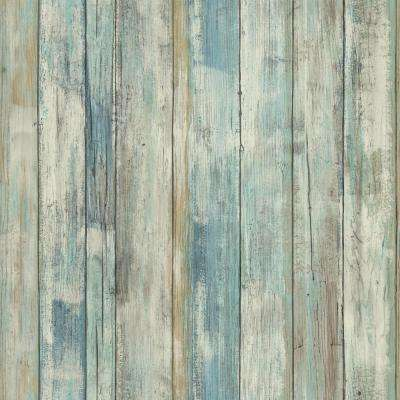 28.18 sq. ft. Blue Distressed Wood Peel and Stick Wall Decor