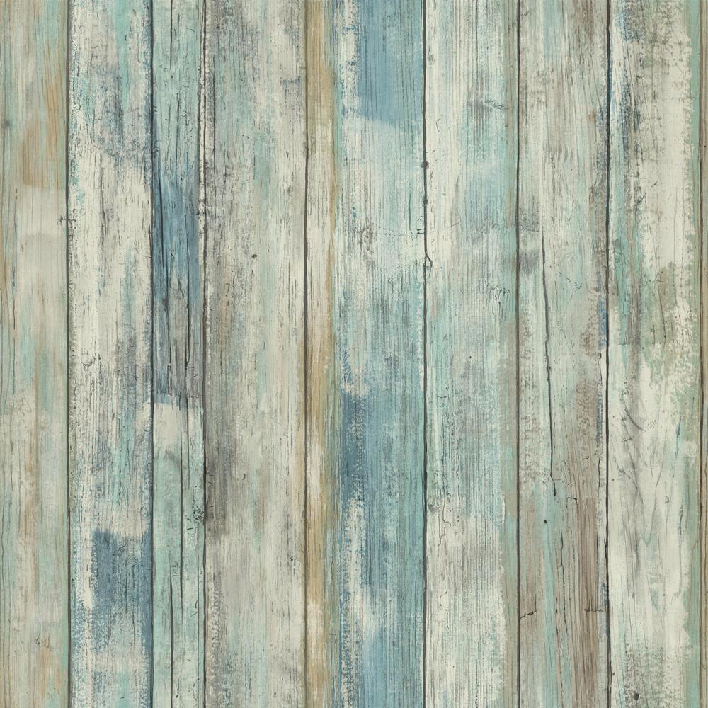 Distressed Wood Effect Wallpaper Green Blue Boards Planks Worn Paste Wall Vinyl