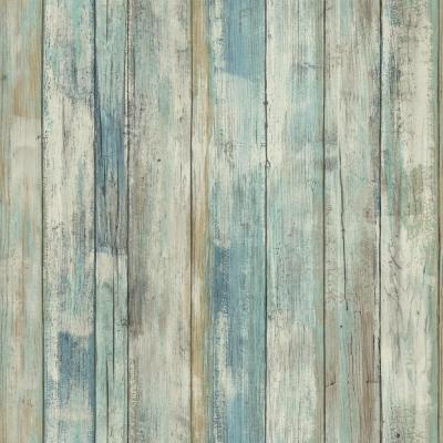 Blue Distressed Wood Vinyl Peelable Roll (Covers 28.18 sq. ft.)