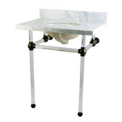 Washstand 30 in. Console Table in Carrara White with Acrylic Legs and Connectors in Oil Rubbed Bronze