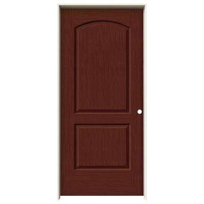 36 in. x 80 in. Continental Black Cherry Stain Left-Hand Solid Core Molded Composite MDF Single Prehung Interior Door