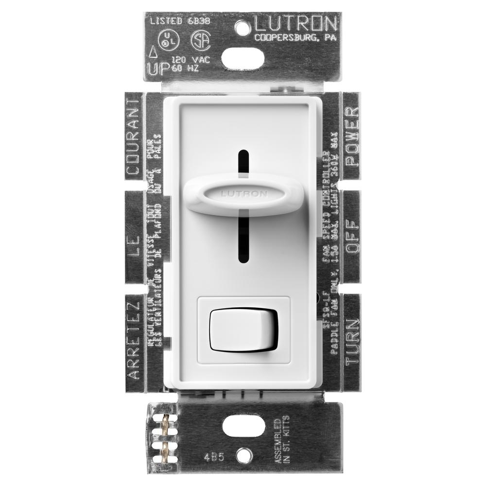 Lutron Skylark Fan Control and Light Switch, Single-Pole, White