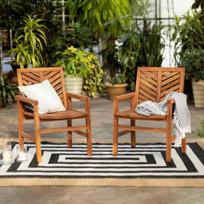 Brown Acacia Wood Outdoor Patio Lounge Chair (2-Pack)