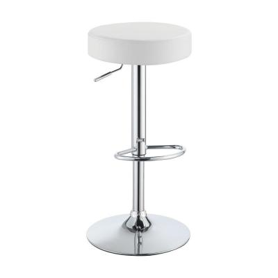Classy 25.5 in. White Backless Adjustable Height Bar Stool