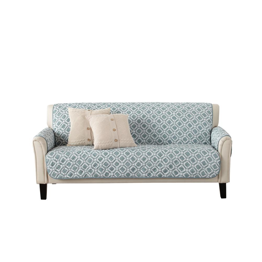 Great Bay Home Liliana Collection Blue Silver Printed Reversible Sofa Furniture Protector