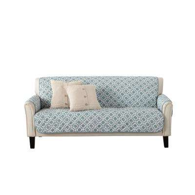 Liliana Collection Blue Silver Printed Reversible Sofa Furniture Protector