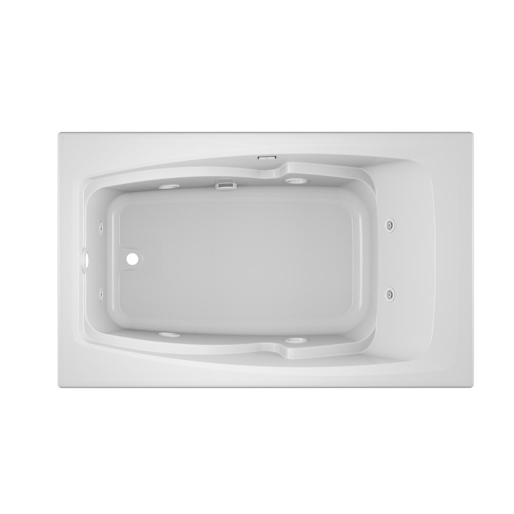 JACUZZI CETRA 60 in. x 36 in. Acrylic Rectangular Drop-In Left Drain Whirlpool Bathtub in White