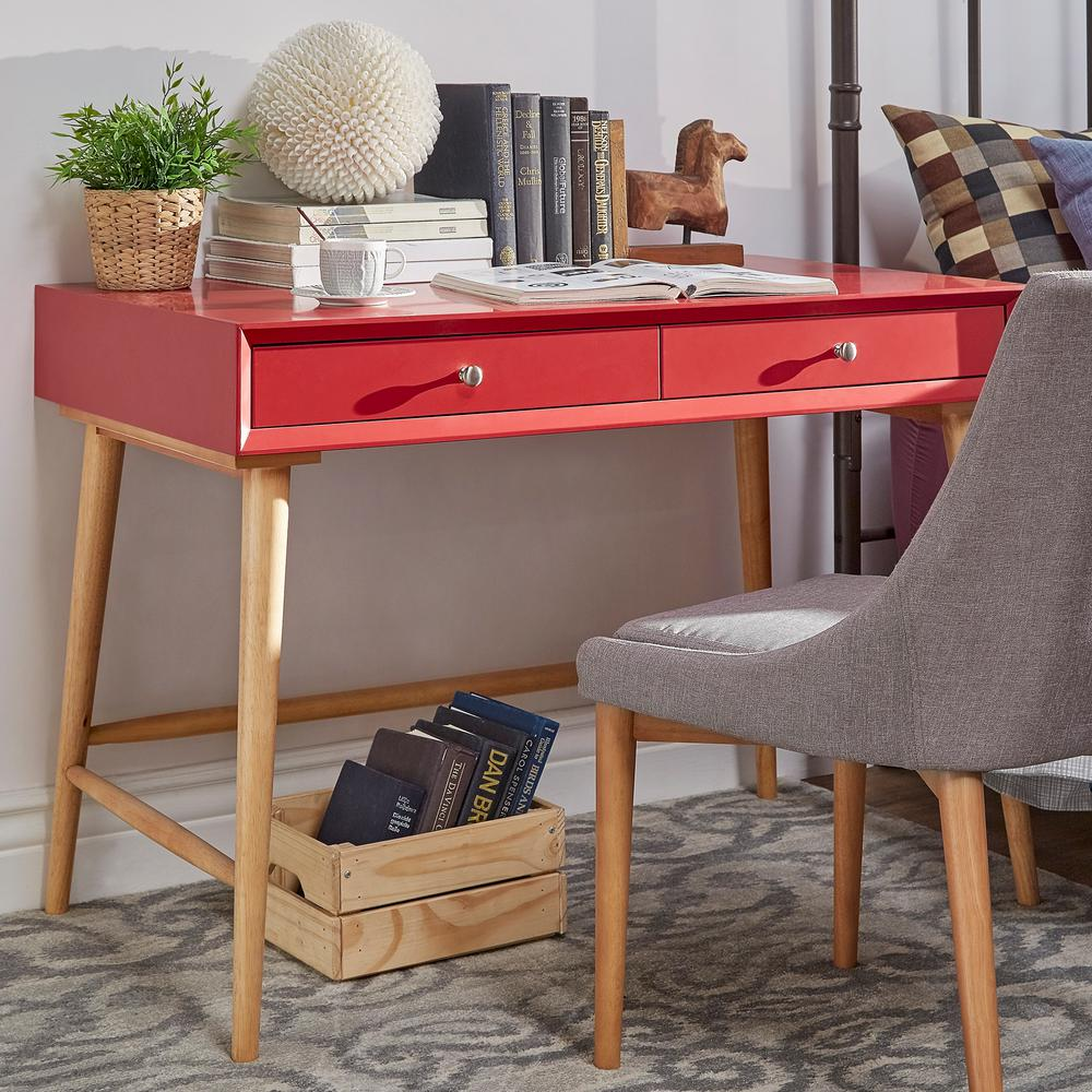 red home office. fine red wyatt mid century red writing desk to home office