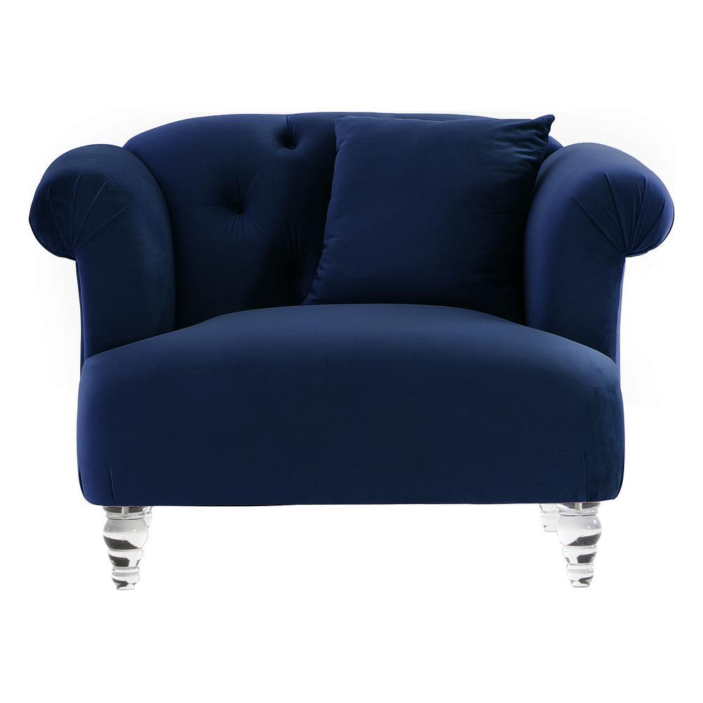 Elegance Blue Velvet Contemporary Chair  with Acrylic Legs