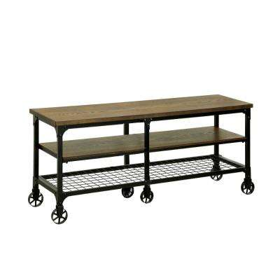Wood Wheels Tv Stands Living Room Furniture The Home Depot