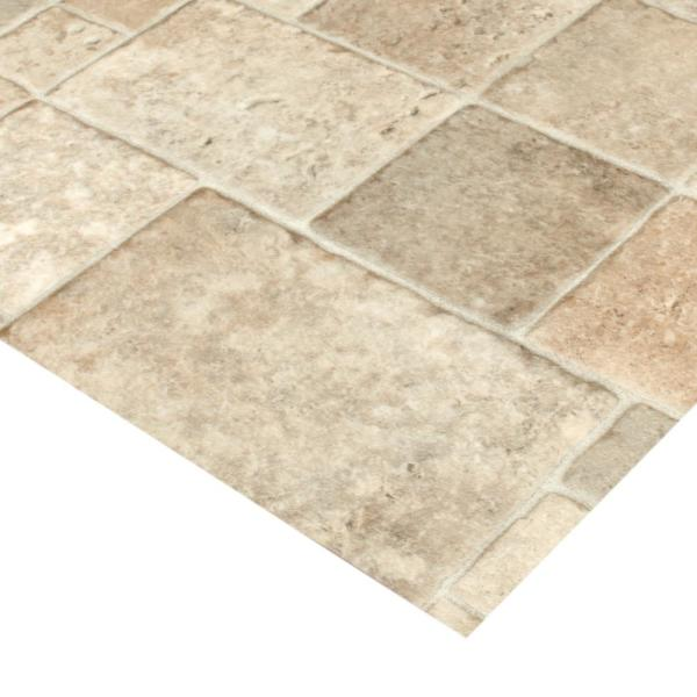 Trafficmaster Sandstone Mosaic Stone Residential Vinyl Sheet Flooring 12 Ft Wide X Cut To Length U4290 284c936g144 The Home Depot