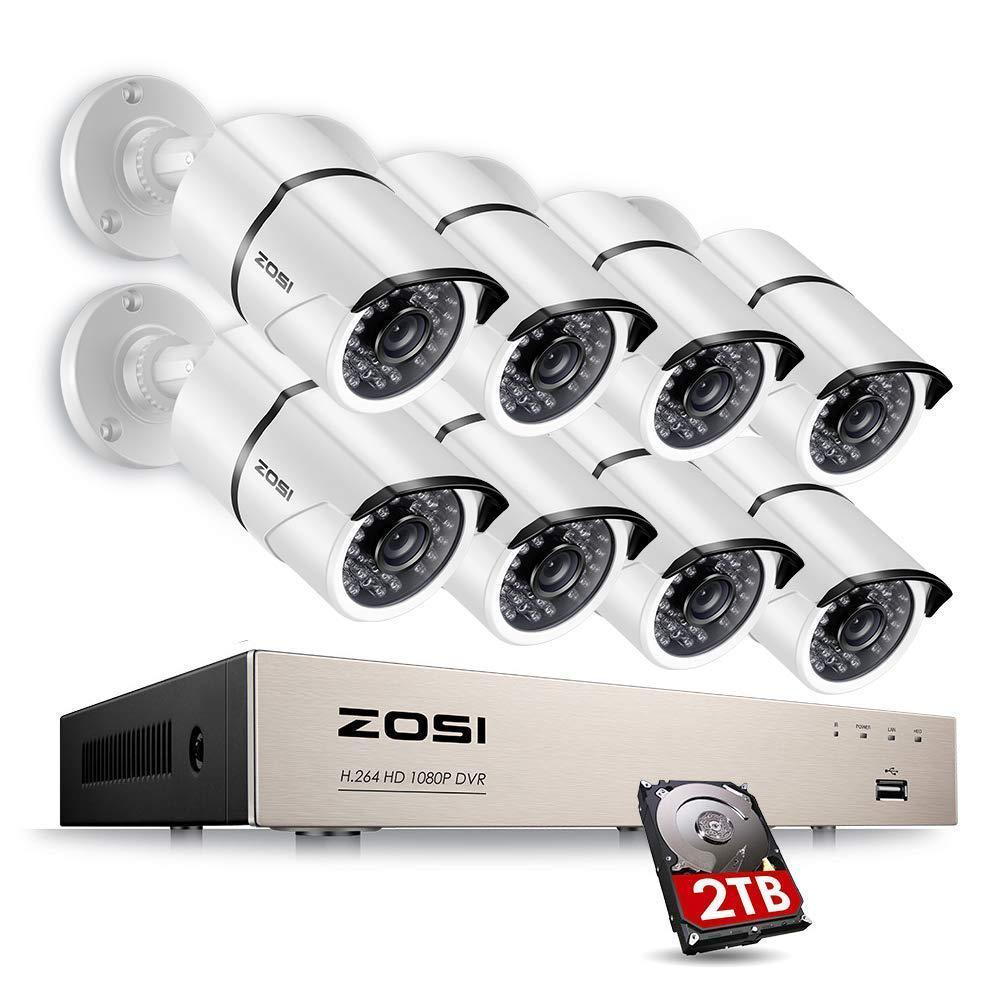 ZOSI 8-Channel 1080p 2TB DVR Security Camera System with 8 Wired Bullet Cameras