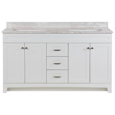 Thornbriar 61 in. W x 22 in. D Vanity in White with Stone Effects Vanity Top in Winter Mist with White Sink