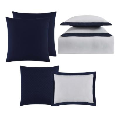 Everyday 7-Piece White and Navy Queen Comforter Set