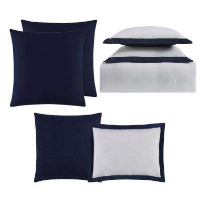 Everyday Hotel Border White and Navy 7 Piece King Comforter Set