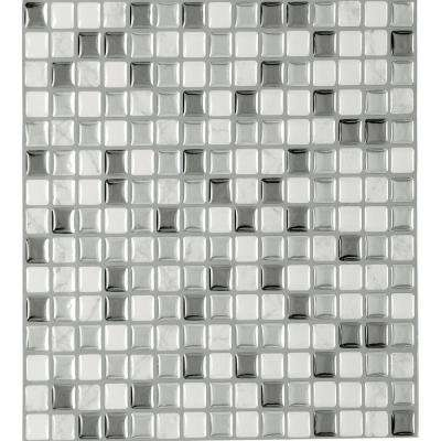 Magic Gel 9.125 in. x 9.125 in. Silver Glass Vinyl Self Adhesive Decorative Wall Tile