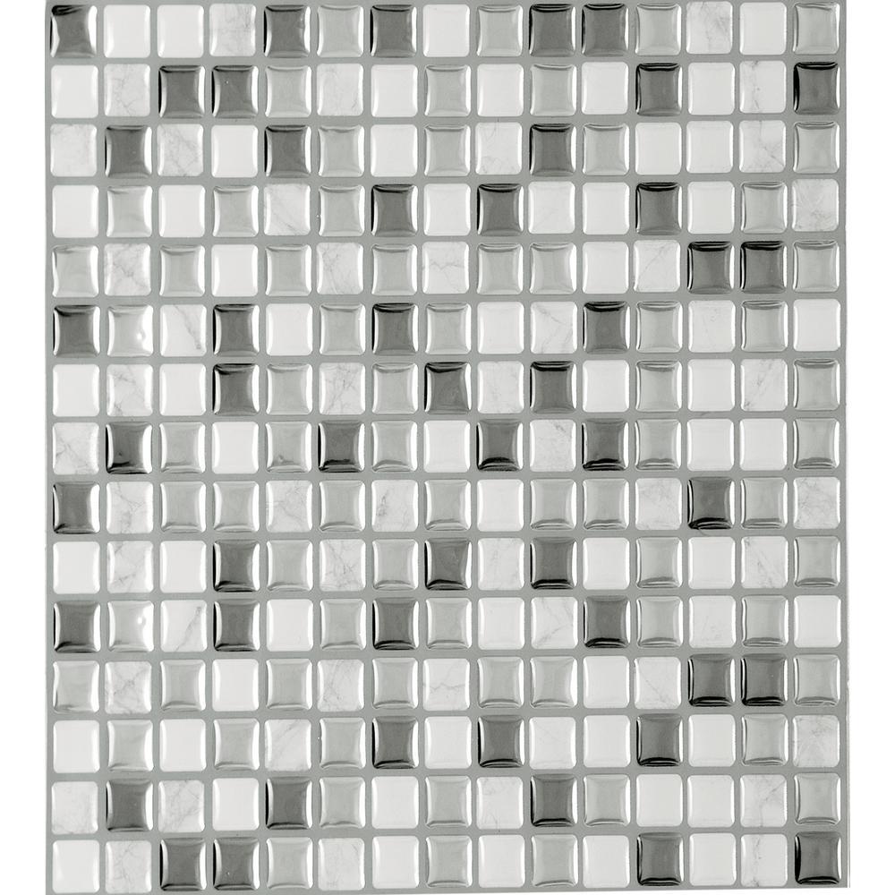 Magic Gel 9.125 in. x 9.125 in. Silver Glass Vinyl Self Adhesive Decorative Wall Tile