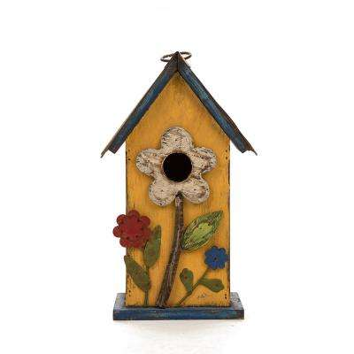 10.24 in. H Distressed Solid Wood Birdhouse with Flower