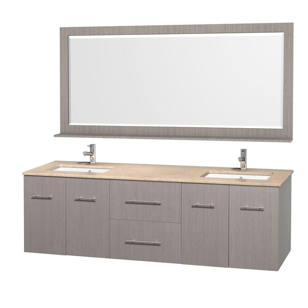 Wyndham Collection Centra 72 in. Double Vanity in Grey Oak with Marble Vanity Top in Ivory and Undermount Sink and Mirror