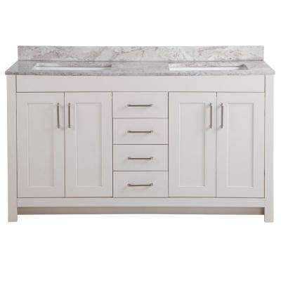 Westcourt 61 in. W x 22 in. D Bath Vanity in Cream with Stone Effect Vanity Top in Winter Mist with White Sink