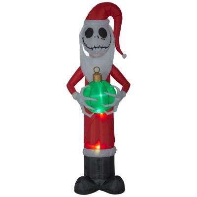 Holiday 8 Ft Pre Lit Inflatable Jack Skellington As Santa With Fuzzy Beard