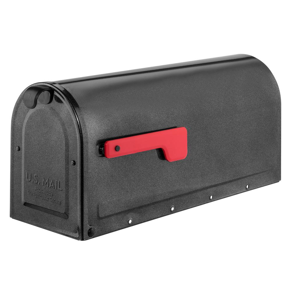 MB1 Post Mount Mailbox Pewter with Red Flag
