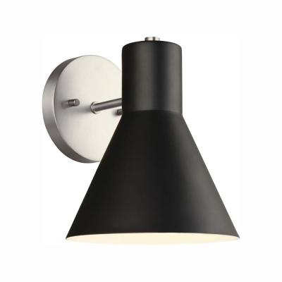 Towner 1-Light Black Shade with Brushed Nickel Accents Sconce with LED Bulb