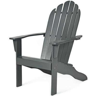Gray Folding Wood Adirondack Chair
