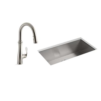Lyric Undermount Stainless Steel 32 in. Single Bowl Kitchen Sink with Bellera Faucet in Vibrant Stainless