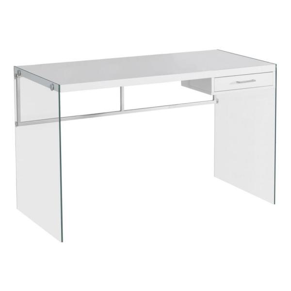 48 in. White Rectangular 1 -Drawer Writing Desk with Glass Stand