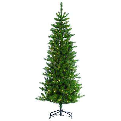 7 ft. Pre-Lit Narrow Augusta Pine Artificial Christmas Tree with Clear Lights
