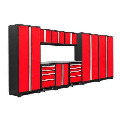Bold 3.0 77.25 in. H x 162 in. W x 18 in. D 24-Gauge Welded Steel Stainless Steel Worktop Cabinet Set in Red (10-Piece)