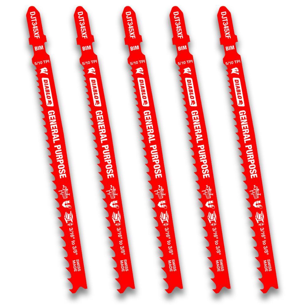 5-1/4 in. x 20 TPI General Purpose Bi-Metal Jigsaw Blade (5-Pack)