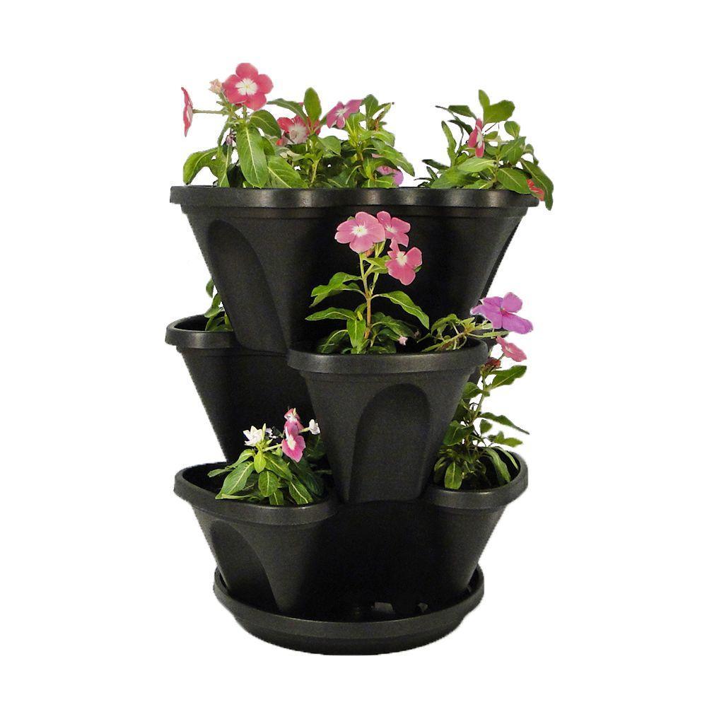Vertical Gardening Self-Watering 12 in.Stacking Planters in Black - 3-Pack Hanging Set