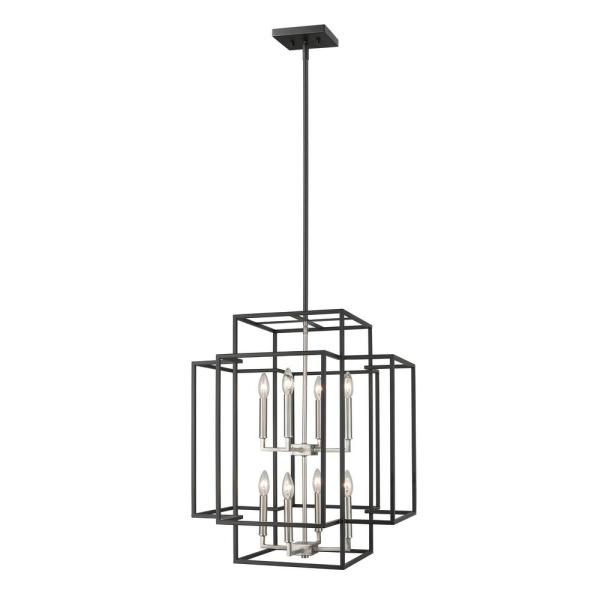 Tulla 8-Light Black and Brushed Nickel Pendant
