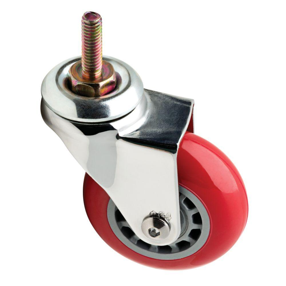 2-1/2 in. Red Swivel Stem Caster with 110 lb. Load Rating