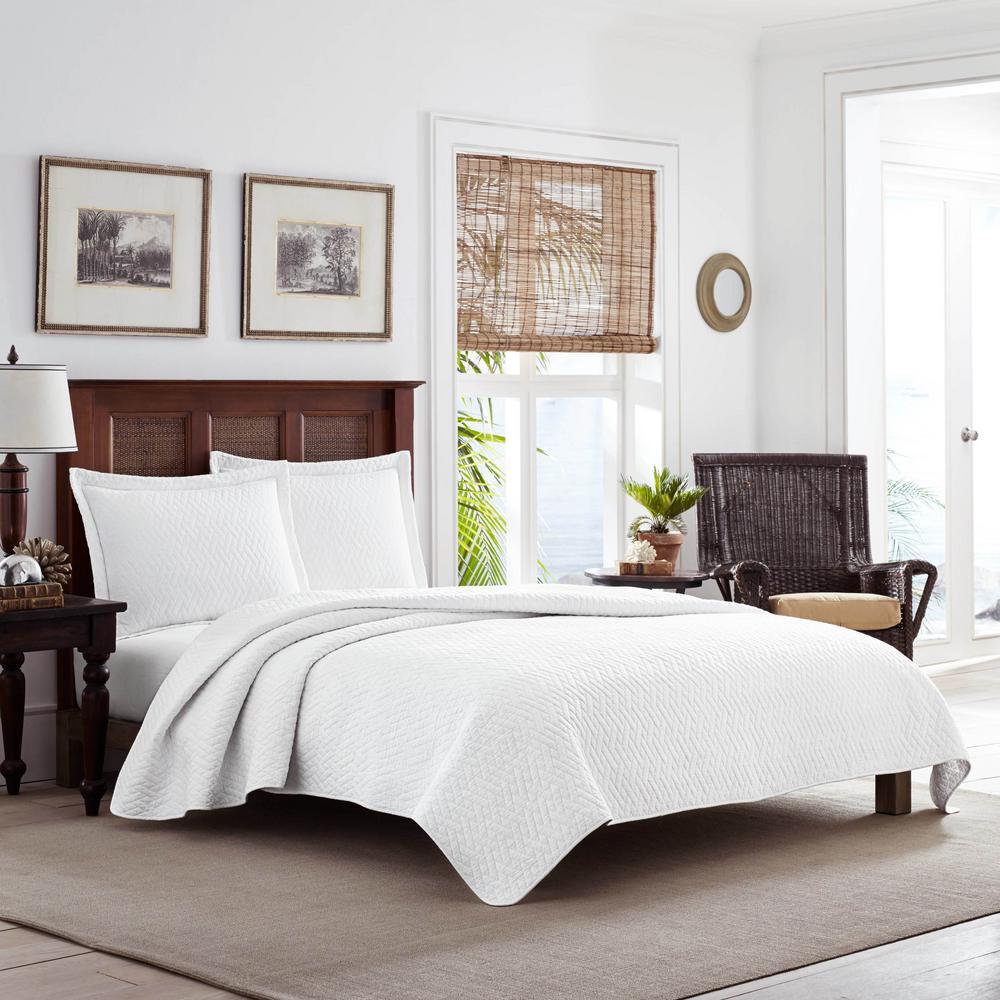 TB Solid 3-Piece White Cotton King Quilt Set