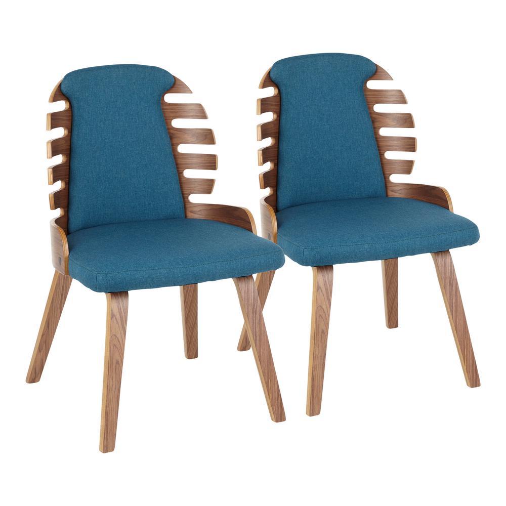 Lumisource Palm Walnut Wood And Dark Blue Fabric Dining Chairs Set