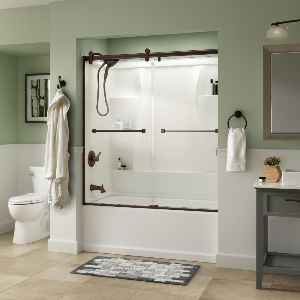 Delta Delta Everly 60 x 58-3/4 in. Frameless Contemporary Sliding Bathtub Door in Bronze with Clear Glass