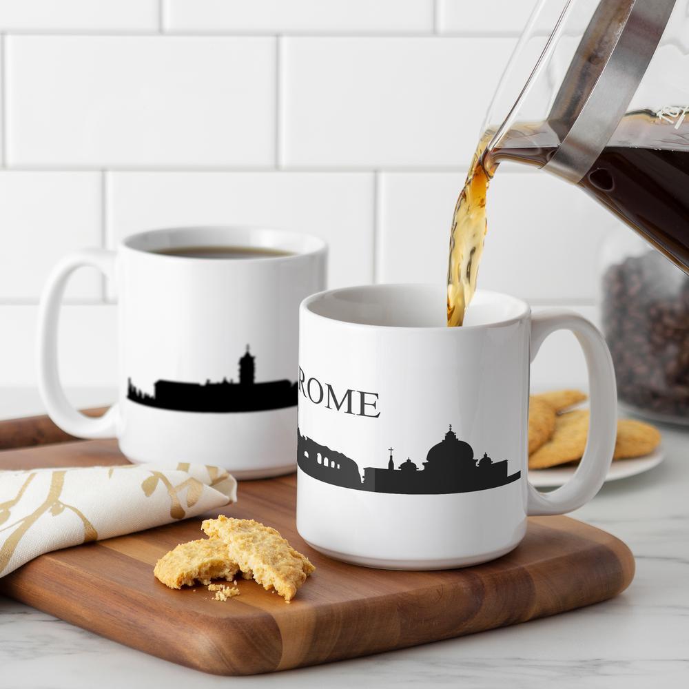 Rome Skyline 20 oz. White Ceramic Coffee Mugs (Set of 2)