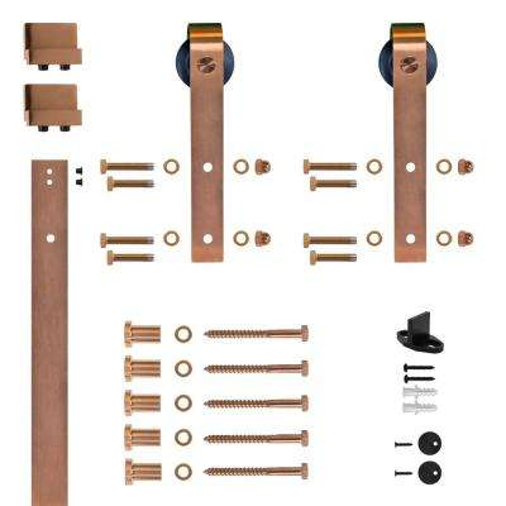 Hook Strap Copper PVD Rolling Barn Door Hardware Kit with 2-3/4 in. Wheel