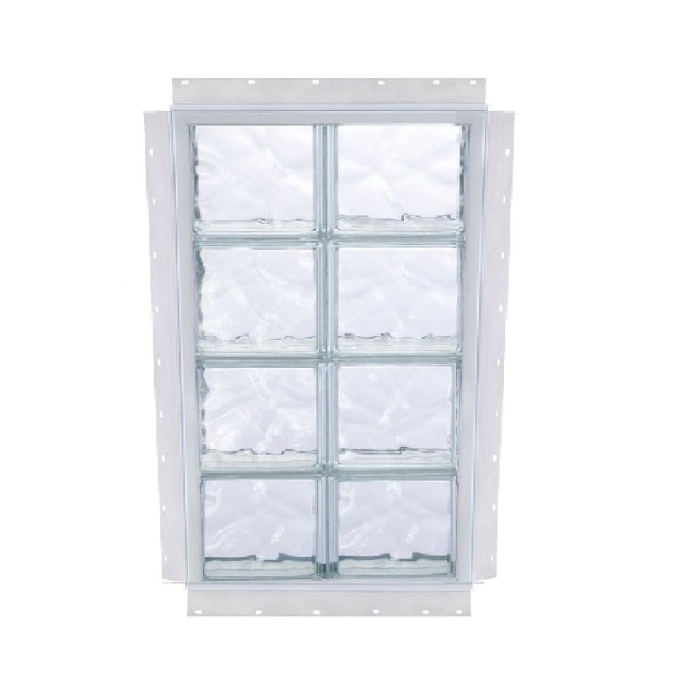 TAFCO WINDOWS NailUp 24 in. x 64 in. x 3-3/4 in. Solid Wave Pattern Glass Block New Construction Window with Vinyl Frame-DISCONTINUED