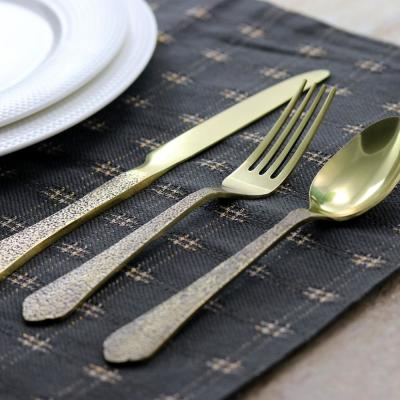 Zambezi 5-Piece Gold Hammer Texture Stainless Steel Flatware Set (Service for 1)