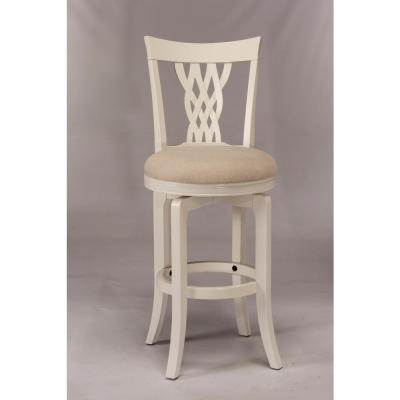Embassy 24 in. White Swivel Counter Stool