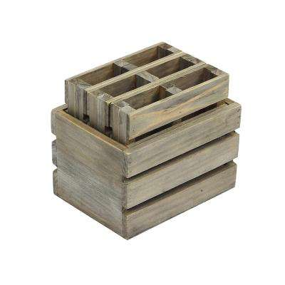 4 in. Miniature Crate with 6-Pallet Coasters in Weathered Gray