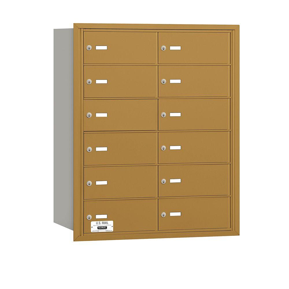 Salsbury Industries Gold USPS Access Rear Loading 4B Plus Horizontal Mailbox with 12B Doors