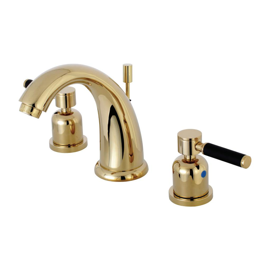 Kingston Brass Kaiser 8 In. Widespread 2-Handle Mid-Arc Bathroom Faucet In Polished Brass